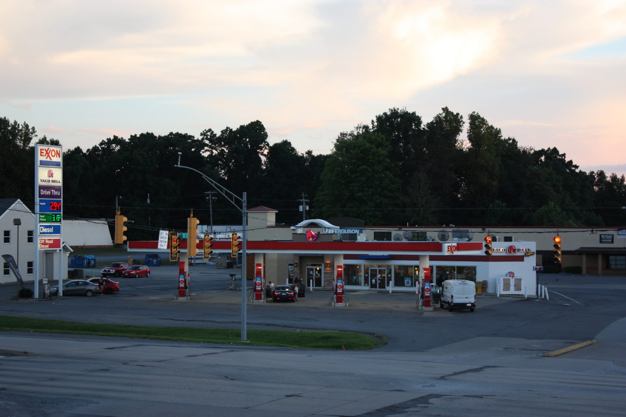 different view of gas station