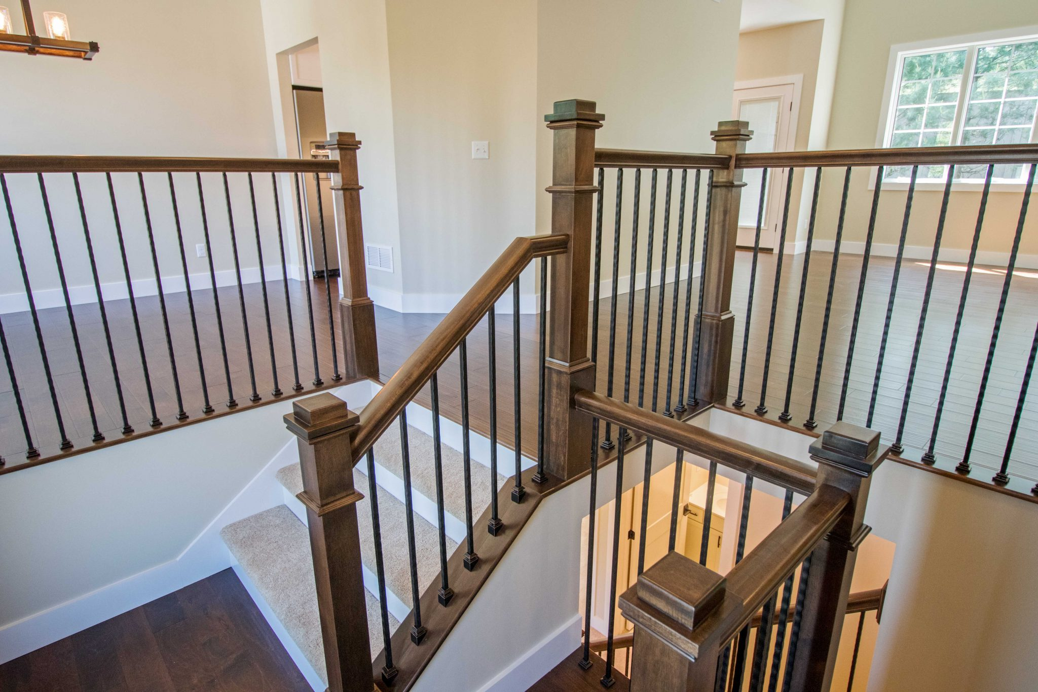 close up of stair rails