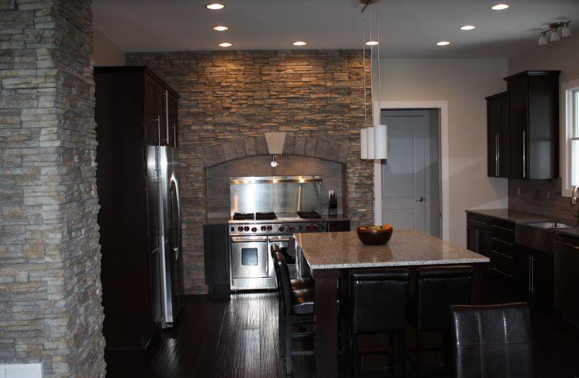 newly added bricks along stove