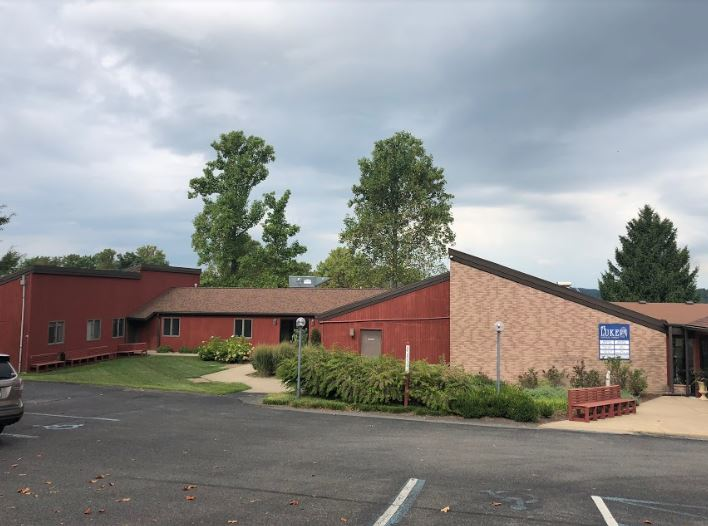 commercial building with slanted roof
